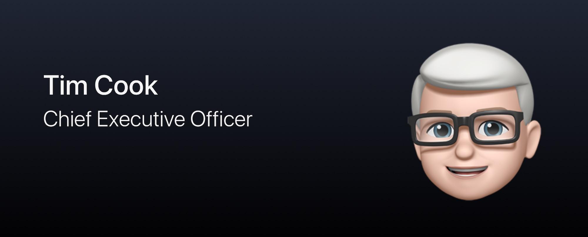 Apple、役員のプロフィール画像をミー文字に変更