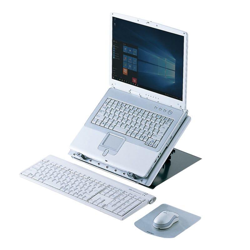サンワサプライ、角度調整&回転機能付きノートPCスタンド発売