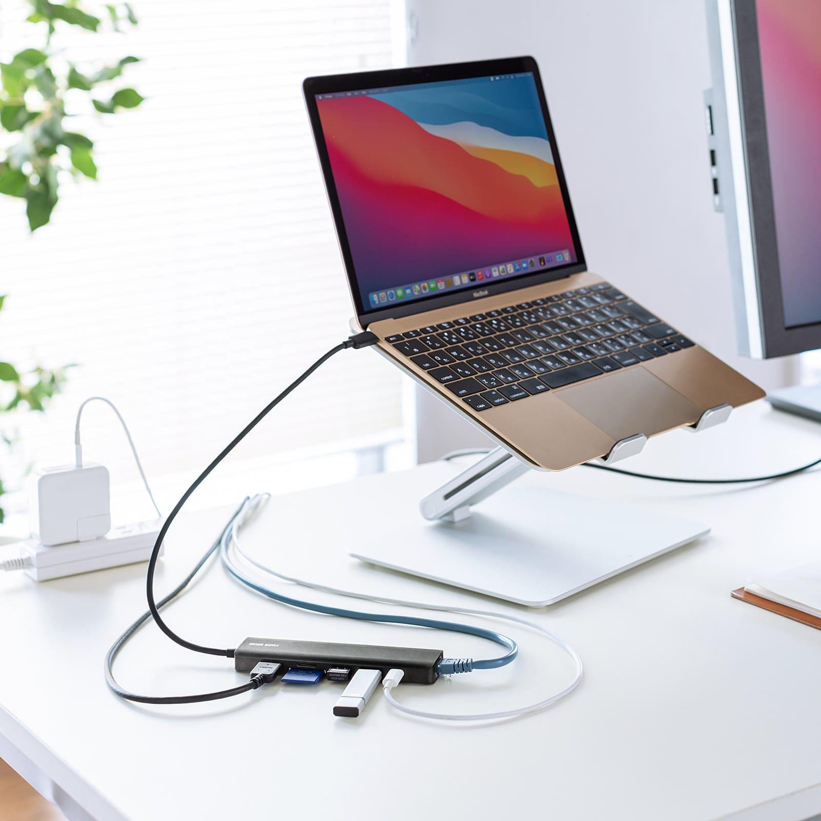 サンワサプライ、ケーブル長約30cmの7-in-1 USB-Cドック発売